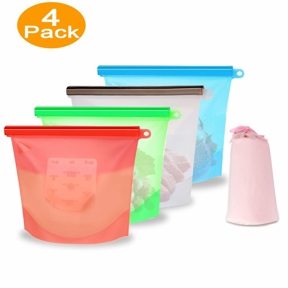 10168cdbf7b Eco-Friendly Reusable Silicone Food Storage Bags - XREXS BPA Free Airtight  Seal Preservation Bags No Leak Kitchen Container Set Keep Food Fresh and...  on ...