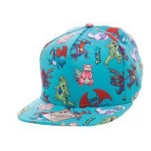 Pokemon Dragon Characters All-Over Pattern Snapback Baseball Cap - Turquoise