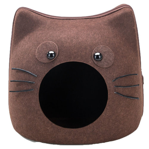 Small Medium Cat Cave Bed Pet Condo House Sleeping Bed for Cats and Pet Brown