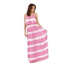 Ladies, Pistachio, Tie Dye Striped Pleat Overlay Maxi Dress, Pink Stripes