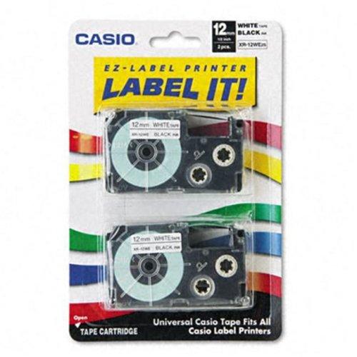Casio XR12WE2S Tape Cassettes for EZ-Label Kl100/780/7200/8100/C500  1/2w  BLK/WE  2 Pack