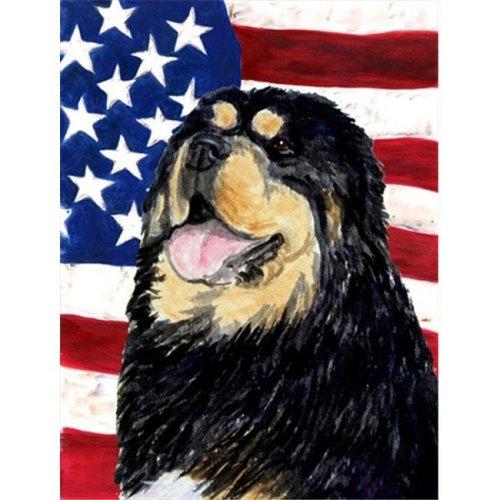 11 x 15 in. USA American Flag with Tibetan Mastiff Garden Size Flag