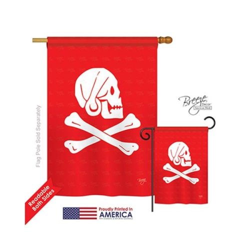 Breeze Decor 07036 Pirate Henry Every 2-Sided Vertical Impression House Flag - 28 x 40 in.