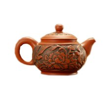 6 Oz Red Peony Round Purple Clay Teapot