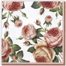 4 x Paper Napkins - Roses on White - Ideal for Decoupage / Napkin Art