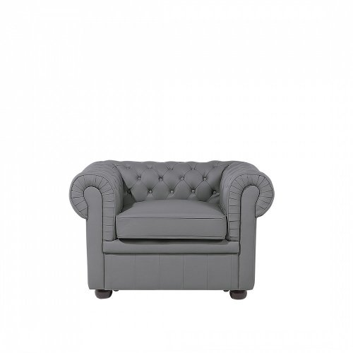 Grey Leather Armchair CHESTERFIELD