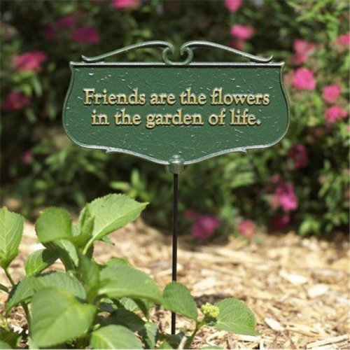 Whitehall Products 10041 Friends are the Flowers Garden Poem Sign - Gold & Green