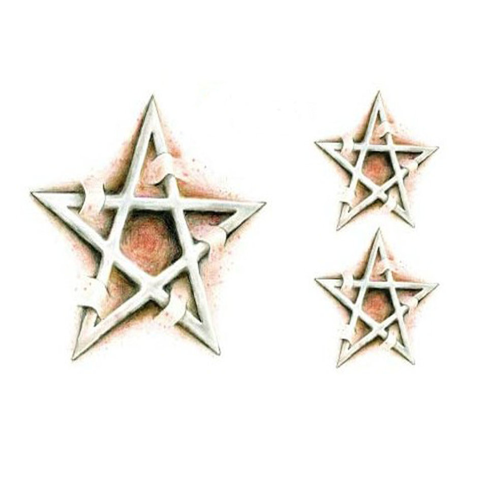 073ea1988 Set of 2 Cool Stylish Star Totem Tattoo Body Tattoo Stickers Temporary  Tattoos ...