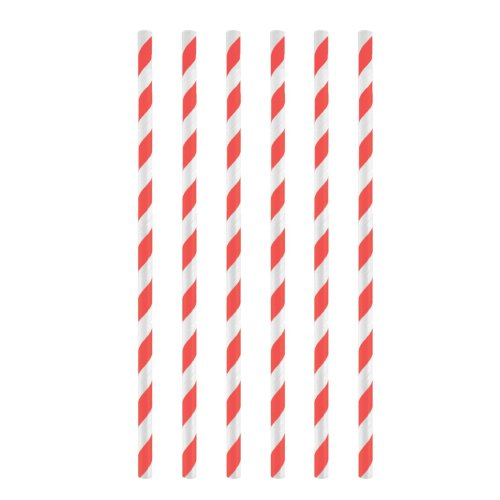 12pk Red Stripe Paper Straws | Red & White Paper Straws