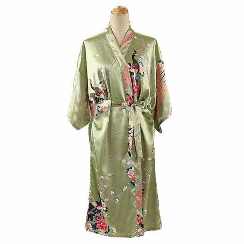 Pea Green - Peacock Blossoms Women s Long Bathrobe Kimono Robe Silk-like  Pajamas on OnBuy 2d6e4f227