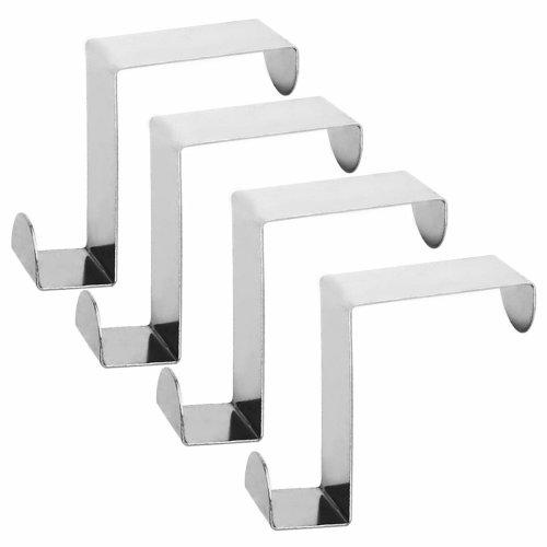 Over Cupboard and Drawer Hooks,Over Door Metal Hooks Hanger Stainless Steel Reversible Hooks - Set of 4