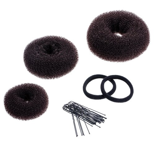 3 Pieces Donut Bun Maker Hair Bun Maker Ring Style Bun Maker Set for Chignon Hair Includes Large, Medium and Small (Brown)