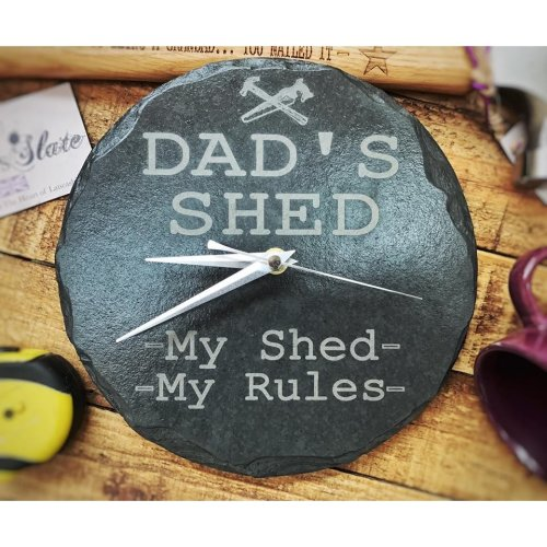 Round Slate 'Dad's Shed' Clock 22cm | 'My Shed, My Rules' Clock