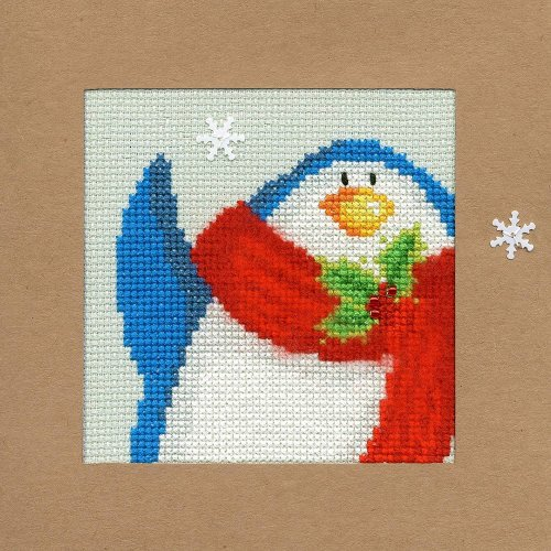 Bothy Threads Cross Stitch Kit - Christmas cards :   Snowy Penguin XMAS13
