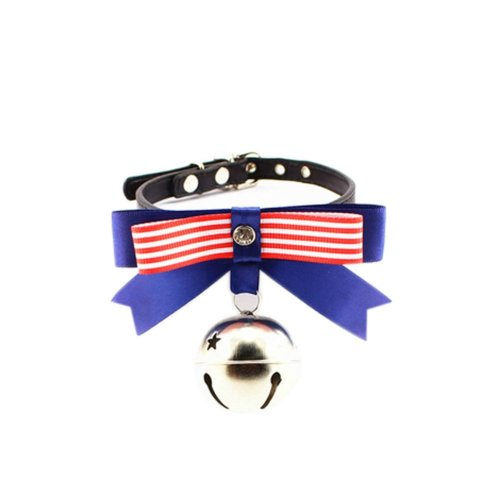 [Red Stripe] Adjustable Bow Tie with Bell Collar for Cats, Dog(Fit 21~26cm Neck)