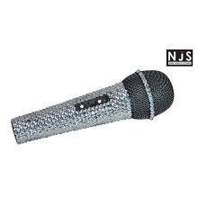 NJS Silver Crystal Effect Karaoke Microphone With 6.35mm Jack Lead