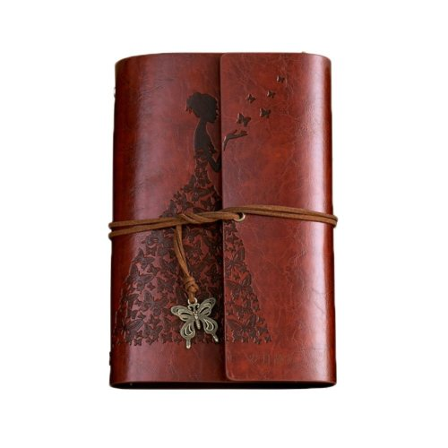 PU Cover Notebook Journal A6 Kraft Brown Paper Blank Sketchbook Butterfly, #04