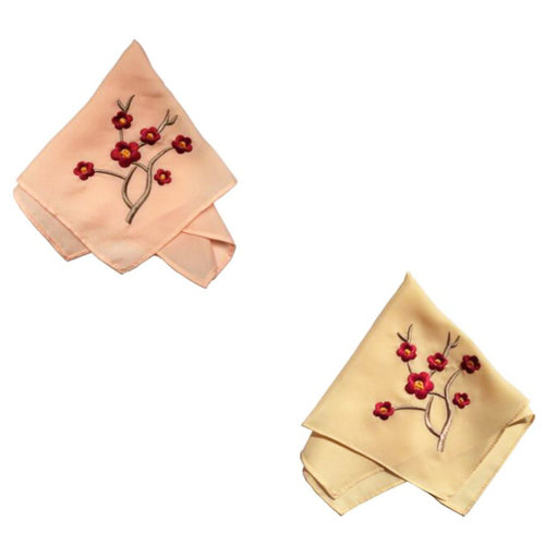 Two Pieces Of Elegant  Retro Plum Flower Embroidered Handkerchiefs-b