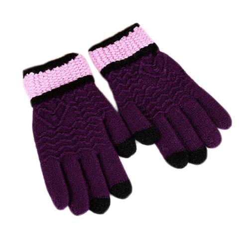 Women  Winter Gloves Touch Screen Knitting Full Finger Gloves, Purple