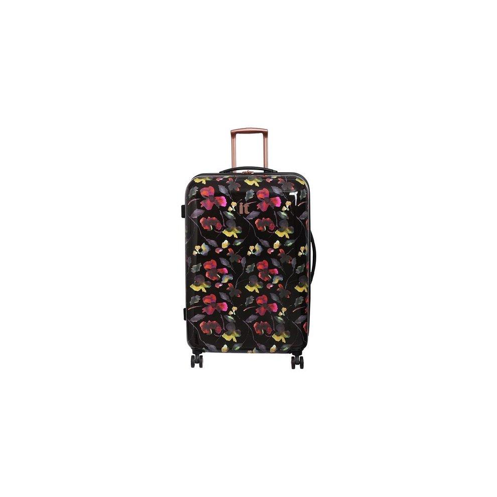 1b5ae3c903f 8 Wheel Black Floral Print Suitcase on OnBuy