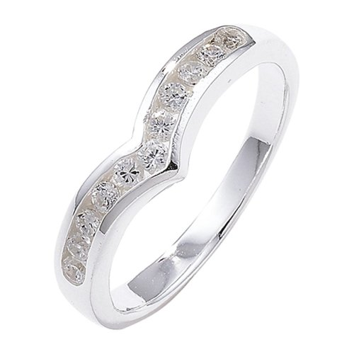 Sterling Silver Channel Set Wishbone Cubic Zirconia Ring - Size M