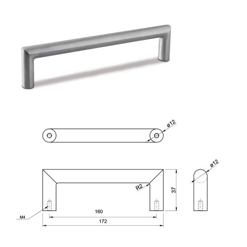 SMALL DOOR PULL HANDLE Stainless Steel C Bar Straight Bolt Fixing 160mm Pack of 1