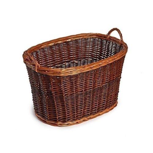 Oval Unpeeled Wicker Log Basket