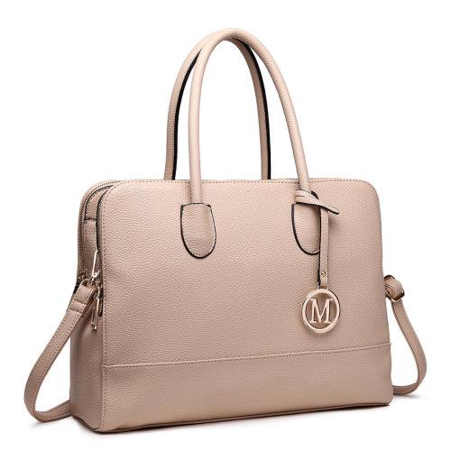 Miss Lulu Women Handbag Laptop Shoulder Bag Tote Tan