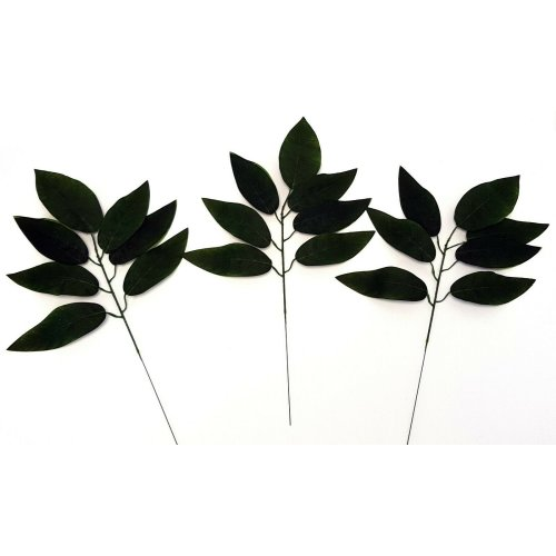 Set of 3 Artificial Green Flocked Leaf Spray - 50cm - Dark Green Fake Leaves
