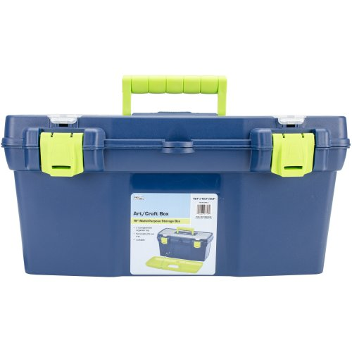 "Pro Art Storage Box W/Organizer Top-19""X10""X8.9"" Blue & Green"