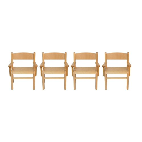 Children's Furniture Solid Beech Wood 4 Chairs with Armrests, Natural
