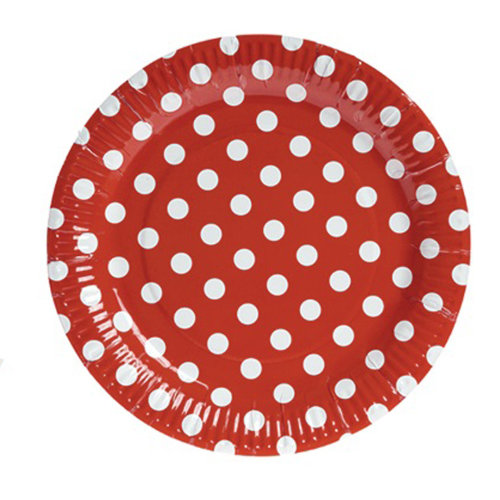 TRIXES 10PC Pack Red Polka Dot Party Paper Plates