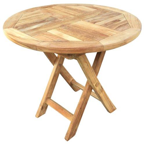 Round Teak Wooden Picnic Garden Patio Outdoor Coffee Tea BBQ Table