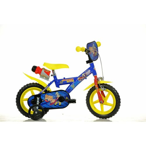 "Dino Fireman Sam Blue Boys 12"" Wheel Bike with Drinks Bottle"