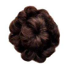 Womens Beautiful Chestnut Brown Human Fancy Hair Bun Donut Hair Bun Extension