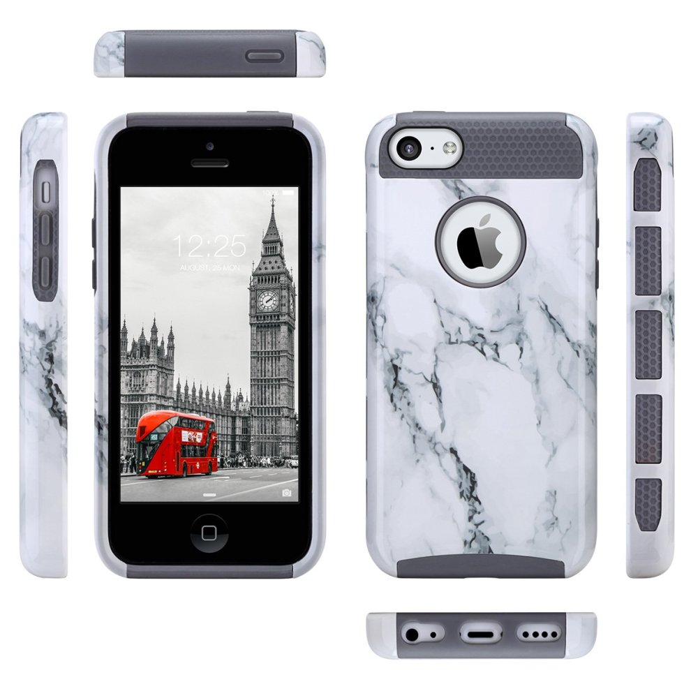 quality design c4e18 8ddd8 ULAK iPhone 5c Case, iPhone 5c Case Dual Layer Hybrid Hard PC + TPU  Protective Case Cover For Apple iPhone 5c (Gray Marble)