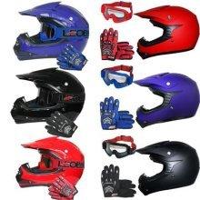 Leopard LEO-X15 Youth Kids Children Motocross Helmet & Gloves & Goggles Matt Red S (49-50cm) Junior Dirt Bike Off Road Crash Helmet