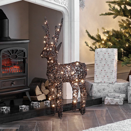 (Brown, 80cm) Rattan LED Reindeer Christmas Light Figure | Light Up Indoor & Outdoor Reindeer