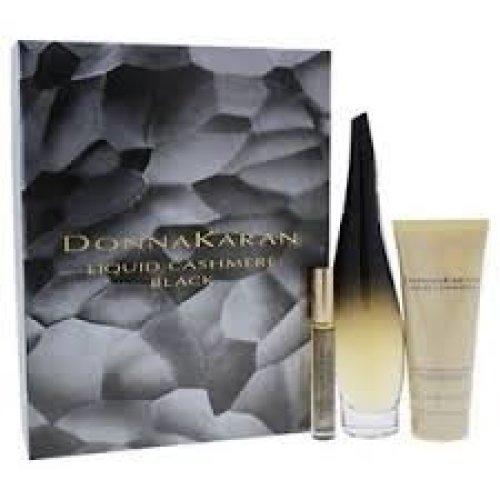 DKNY Liquid Cashmere Black Gift Set 100ml EDP + 100ml Body Lotion + 10ml Rollerball Mini EDP