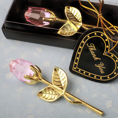 Choice Pink Crystal With Gold Long Stem Pink Rose from Solefavors