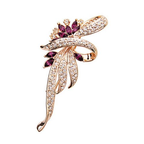 Men Women Gifts Fashion Shining Crystal Brooches and Pins PURPLE