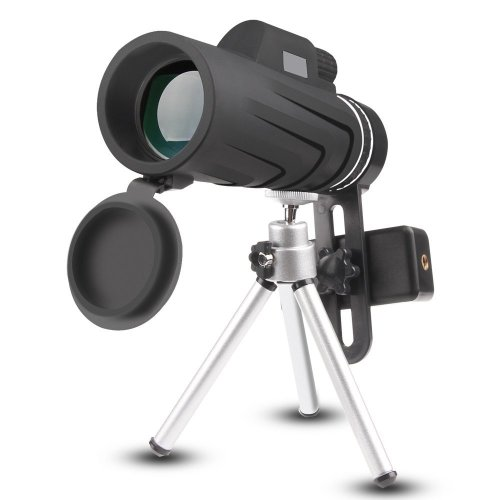 Phone Telescope, JoyGeek 10X42 Handheld Monocular Telescope with Tripod for Smart Phone, Low Night Vision Prism Telescope HD Spotting Scope for...