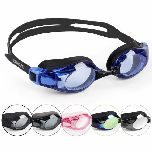 COPOZZ Clear Swimming Goggles, Pro Triathlon Swim Goggles for Unisex Adults Men Women Teenagers Boys Girls, Wide View Anti Fog Crystal Clear Vision...