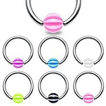 4mm Candy Striped Ball 1.2mm x 10mm Surgical Steel Captive Bead Ring CBR Universal Body Jewellery