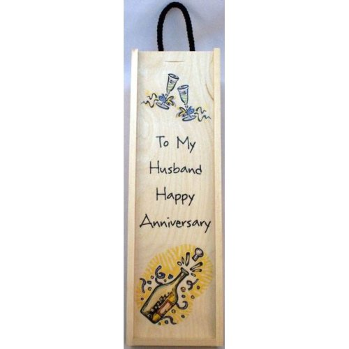 To my Husband Happy Anniversary Wine Box