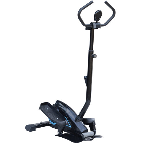 HOMCOM Elliptical Cross Trainer Stepper with Handle Hand Grip LCD Display Adjustable Magnetic Resistance  Black