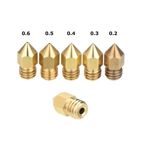 Creality 3D Printer Extruder Nozzle 0.2 0.3 0.4 0.5 0.6mm 1.75MM MK8 of Ender 3 and CR-10S S4 S5 [5 pcs]