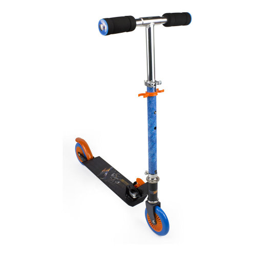 HOT WHEELS Kid's Two Wheel Inline Foldable Scooter with Adjustable Handlebar and Front Plate, Multi-colour (OHOT112)