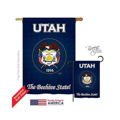 Breeze Decor 08114 States Utah 2-Sided Vertical Impression House Flag - 28 x 40 in.