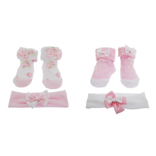 Baby Girls Bow Topped Socks/Headband Gift Set